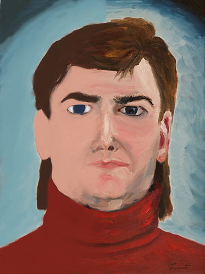 Half a Trent - Self Portrait in oils, manipulated digitally