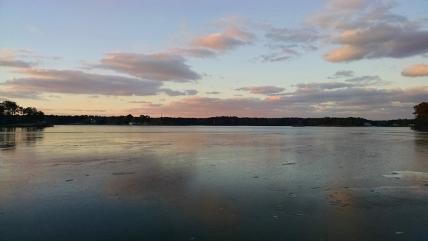Sunset over frozen Swan Pond