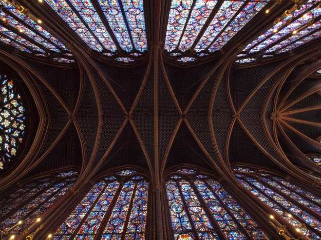 Vaulting of St. Chapelle with a view of the fabulous stained glass